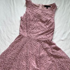 fit and flare pink flower lace print dress
